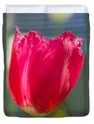 Tulip On The Gray Background Duvet Cover