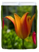 Tulip On The Green Background Duvet Cover