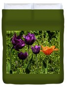 Tulip Time Purple And Orange Duvet Cover