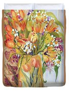 Tulips And Narcissi In An Art Nouveau Vase Duvet Cover by Joan Thewsey