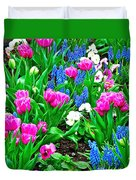 Tulips And Pansies And Grape Hyacinth By Lutheran Cathedral Of Helsinki-finland Duvet Cover
