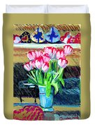 Tulips And Valentines Duvet Cover