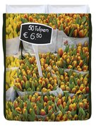 Tulips For Sale In Market, Close Up Duvet Cover