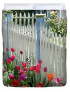 Tulips Garden Along White Picket Fence Duvet Cover