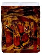 Tulips In Acryl Collage Duvet Cover