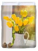 Tulips In Antique Jug Duvet Cover