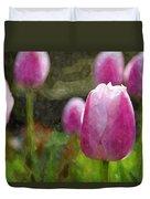 Tulips In Digital Watercolor Duvet Cover