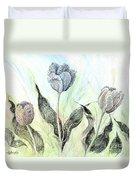 Tulips In Ink Duvet Cover