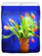 Tulips In The Blue Duvet Cover