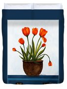 Tulips On A Blue Buffet With Borders Duvet Cover by Barbara Griffin