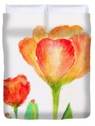 Tulips Orange And Red Duvet Cover by Ashleigh Dyan Bayer