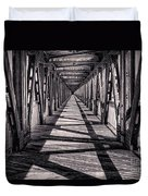 Tulsa Pedestrian Bridge In Black And White Duvet Cover by Tamyra Ayles