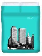 Tulsa Skyline - Aqua Duvet Cover