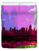 Tulsa Watercolor Skyline 2 Duvet Cover