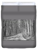 Tunnel Of Trees Black And White Duvet Cover