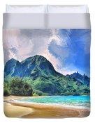 Tunnels Beach Kauai Duvet Cover