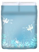 Turquoise Dragonfly Art Duvet Cover
