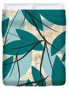 Turquoise Leaves Duvet Cover