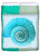 Turquoise Seashells X Duvet Cover