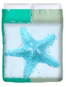Turquoise Seashells Xiii Duvet Cover by Lourry Legarde