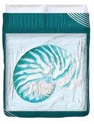 Turquoise Seashells Xxi Duvet Cover
