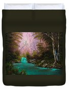 Turquoise Waterfall Duvet Cover by C Steele