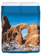 Turret Arch In Winter Duvet Cover