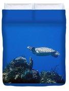 Turtle Flying Underwater Duvet Cover