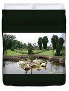 Turtle Fountian And Garden Chateau De Cormatin Duvet Cover
