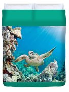 Turtle In Tropical Ocean Duvet Cover