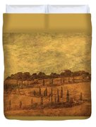 Landscape And Winding Road With Cypress Trees Duvet Cover