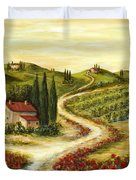 Tuscan Road With Poppies Duvet Cover