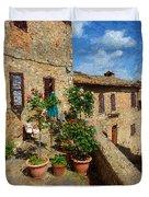 Tuscan Terrace Poster Duvet Cover