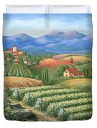 Tuscan Vineyard And Village  Duvet Cover