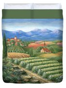 Tuscan Vineyard And Village  Duvet Cover by Marilyn Dunlap