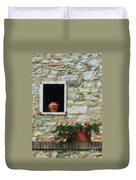 Tuscan Window And Flower Pot Duvet Cover