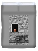 Tuscan Window And Pot Bw And Color Duvet Cover