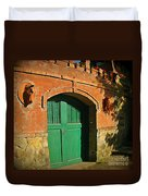 Tuscany Door With Horse Head Carvings Duvet Cover