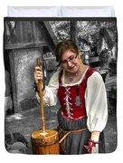 Tutor Milkmaid Churning Butter  V2 Duvet Cover