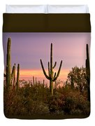 Twilight After Sunset In The Cactus Forests Of Saguaro National Park Duvet Cover