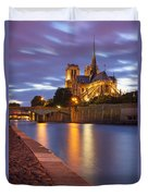 Twilight Over Notre Dame Duvet Cover