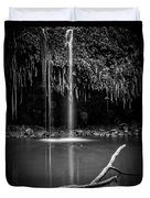 Twin Falls Hana Highway Maui Hawaii Black And White Duvet Cover