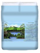 Twin Ponds And 23 Psalm On Blue Horizontal Duvet Cover
