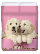 Twin White Labs In Pink Basket Duvet Cover by Greg Cuddiford