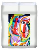 Two Abstract Faces Duvet Cover