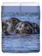 Two African Elephants Swimming In The Chobe River Duvet Cover