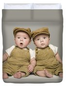 Two Babies In Matching Hat And Overalls Duvet Cover