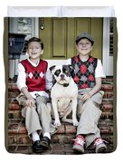 Two Boys And Their Dog Duvet Cover
