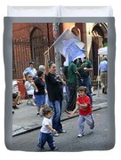 Two Boys Having Some Fun At The 200th Anniversary Of St. Patrick Old Cathedral Duvet Cover