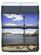 Two Bridges View - Manhattan Duvet Cover